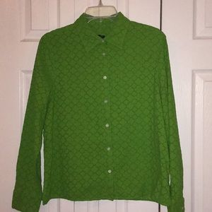 """Talbots"" Green Button-Down Blouse."